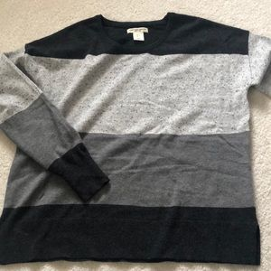 Christian Siriano Grey Stripped Sweater EUC